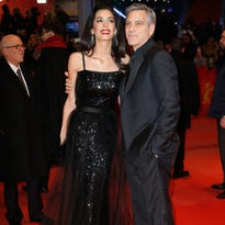 George Clooney  and his wife Amal Alamuddin at the Berlin premiere of 'Hail, Caesar!'