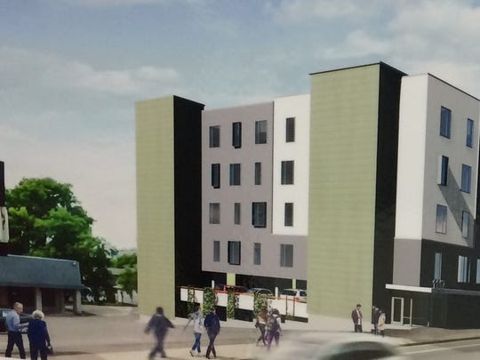 A rendering of the proposed Victory Hall apartments