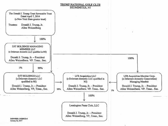 A flow chart showing the membership interests at Trump