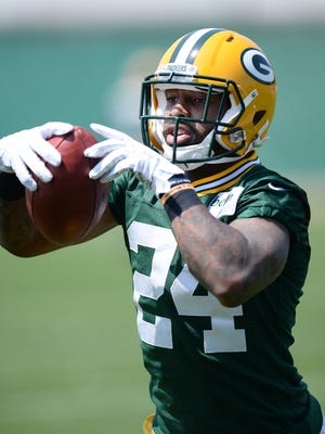 Green Bay Packers second round draft pick Quinten Rollins (24) catches a ball during organized team activities at Clarke Hinkle Field.