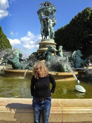 Sally Pollak at Marco Polo fountain in the south end