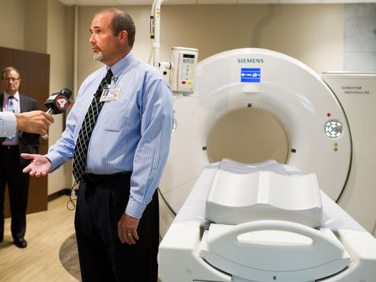 David Cato answers questions during an interview in the imaging center of the new Lee Memorial Health System Outpatient Center in Cape Coral.