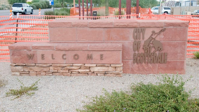 The welcome to Scottsdale sign that sits on the corner of Frank Lloyd Wright Boulevard and Scottsdale Road.