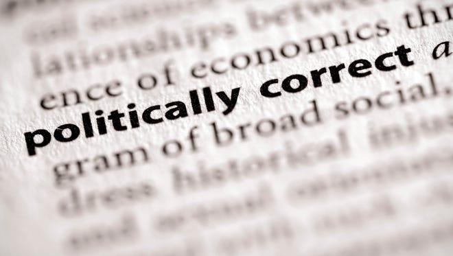 "Selective focus on the words ""politically correct""."