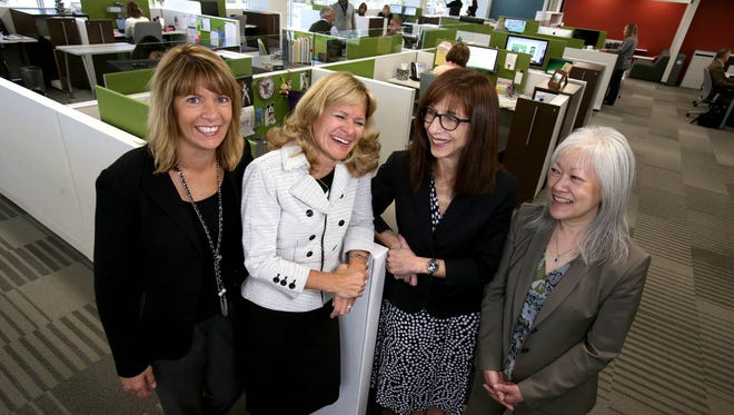 Part of the management team at Kelly Services, from left, Teresa Carroll, senior VP of global talent solutions, Judy Snyder, senior VP and chief information officer, Nina Ramsey, chief human resources officer and Carolyn Palmer, senior VP of global marketing at the headquarters in Troy on May 3, 2017.