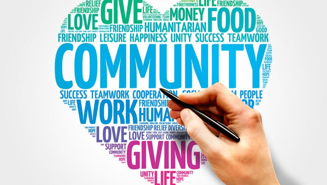 Community word cloud, heart concept, fundraisers