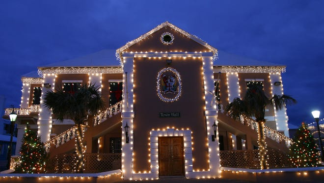 St. George's Town Hall sits decorated for the island's holiday walkabout.