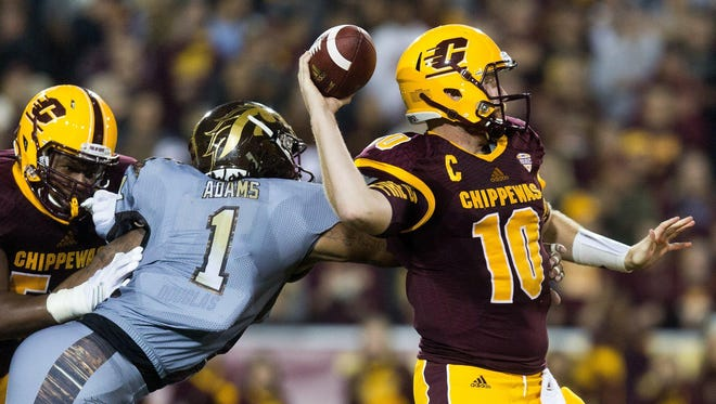 "Central Michigan senior Cooper Rush has 12,653 career passing yards. Coach John Bonamego describes today's game in Florida as a ""business trip."""