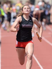 Muskego's Savannah Balcerak runs the last leg of the