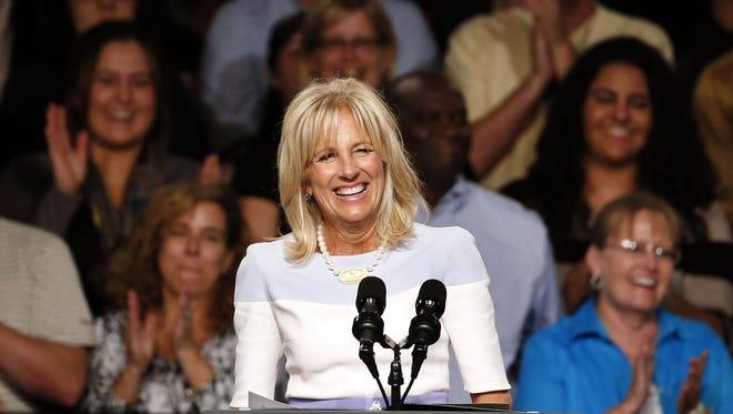 Jill Biden, wife of Vice President Joe Biden, speaks Wednesday at Macomb County Community College in Warren, Mich.