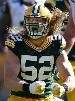 Green Bay Packers linebacker Clay Matthews celebrates a sack against the St. Louis Rams at Lambeau Field.