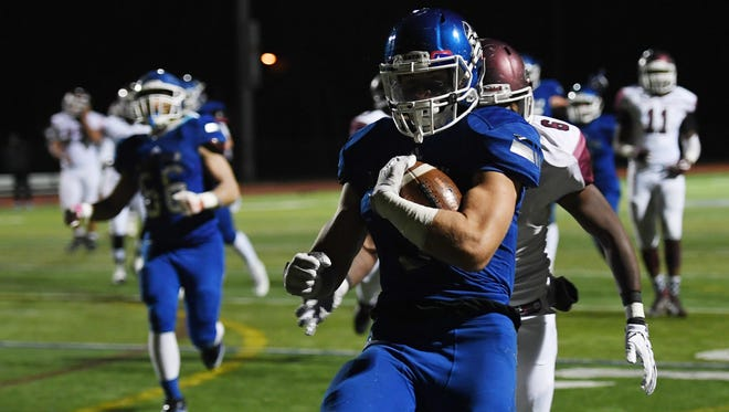 Dwight Morrow at NV/Demarest on Friday, November 10, 2017. D #3 Endrit Kaleci scores a touchdown in the second quarter.