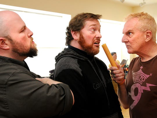 """Left to right, Pierre Vachon, Michael Purdue and Mack Roark take part in """"Black Comedy"""" this weekend in Middlebury."""