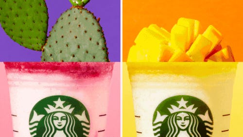 """As part of its """"Colors of Summer"""" promotion, Starbucks has a new Berry Prickly Pear Frappuccino and a Mango Pineapple Frappuccino available for a limited time."""