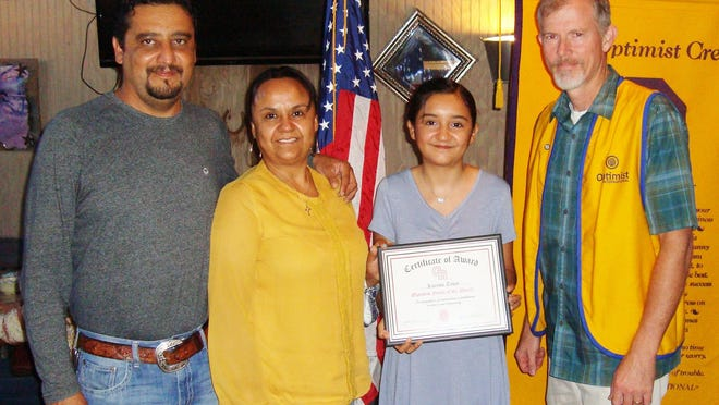 The Glen Rose Optimist Club's Junior High Girls Youth of the Month is Karyme Tovar. She is a member of the National Junior Honor Society and the Glen Rose Junior High School Student Council, and is on the A/B Honor Roll. She competes in UIL Impromptu Speaking and Editorial Writing, and participates in One Act Play.