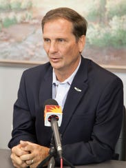 Rep. Chris Stewart speaks with The Spectrum staff Thursday,