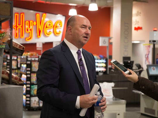 Hy-Vee CEO Randy Edeker at the new downtown Fourth and Court Hy-Vee store on Thursday.