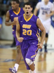 Northern Iowa's Jeremy Morgan reacts after dunking against Drake on Jan. 10, 2015, at the Knapp Center in Des Moines.