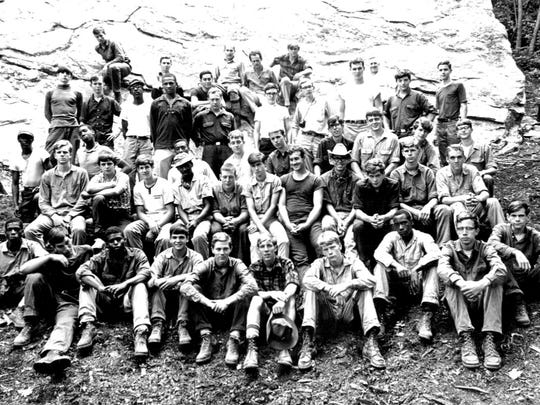 The first class of the N.C. Outward Bound School pictured here in 1967 at Table Rock Base Camp near Linville Gorge Wilderness.