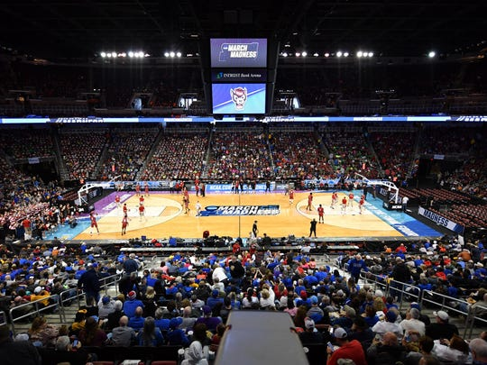 The huge crowd at Intrust Bank Arena for Wednesday's NCAA Tournament open practices.