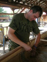 Aaron York, the Abenaki artist who constructed the Quadricentennial bark canoe for the First Navigators project, has traveled extensively learning the arts and skills of the Wabanaki nations.