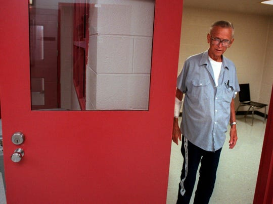 James Earl Ray, who pleaded guilty to the murder of the Rev. Martin Luther King Jr. in 1968, at the Tennessee Department of Correction's Lois M. DeBerry Special Needs Facility in Nashville shortly before his death in 1998 at age 70.
