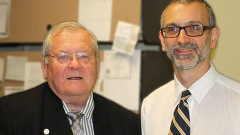 Terry Johnson, left, and Dr. Adam Gold meet at the Martinsburg VA Medical Center for a rare in-person visit.