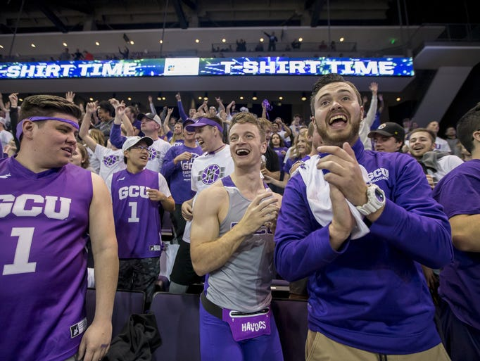 Grand Canyon students cheer during the game against