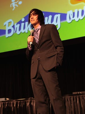 Tim Lentz presents a short film about bullying at the Digicom Film Festival at the Palm Springs Convention Center on Tuesday.