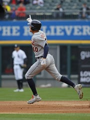 Tigers centerfielder JaCoby Jones celebrates while