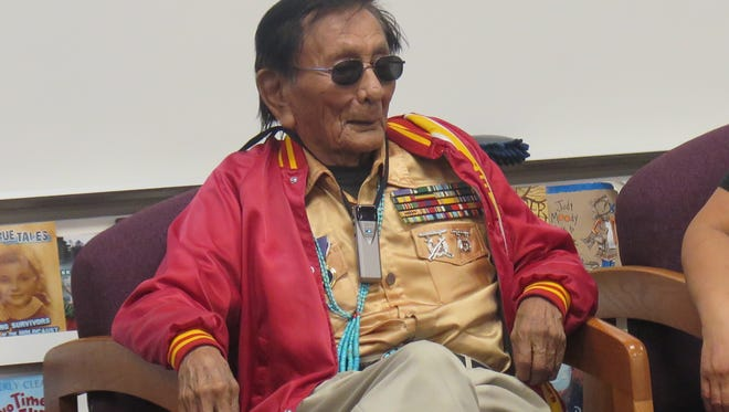 Samuel Tom Holiday talked to fifth-grade students at Riverside Elementary about his experiences as a World War II Code Talker during a presentation at the Washington City school in February 2017.