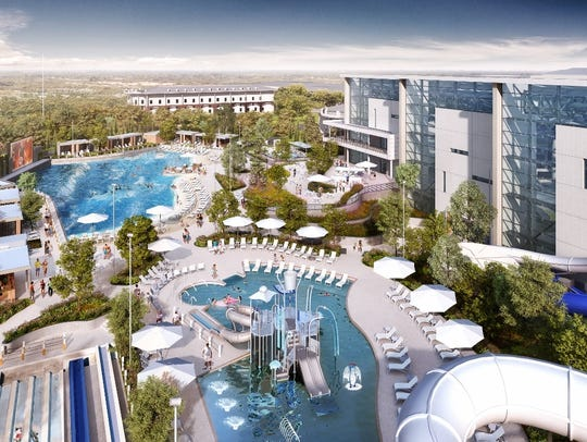 A rendering shows two outdoor pools, water slide tubes