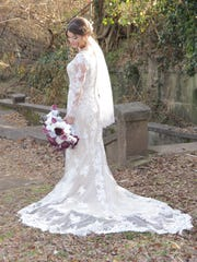 Tori Bates showcases her wedding dress at her wedding