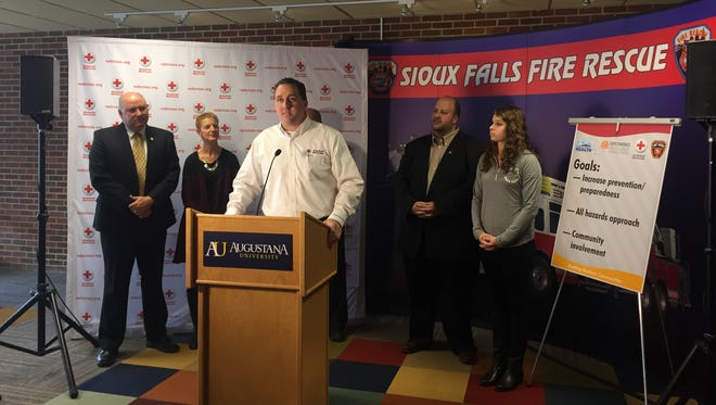 American Red Cross of Eastern South Dakota executive director Tony Burkeexplains Growing Resilient during a press conference at Augustana University.