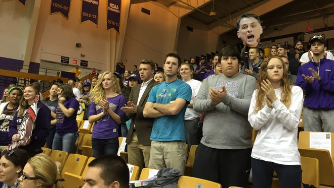 JMU students check out the view from the new student seating at the Convo. The Dukes defeated Marshall 107-84.