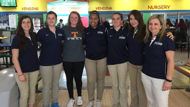 Siegel defeated Walker Valley on Saturday to qualify for the TSSAA state tournament. In the front, from left, are Emily Whitaker, Tori Barnet, Danielle Jedlicki, Grace Haley, Sydney Jahns, Madeline Woods and Siegel coach Cora Proctor. Not pictured: Stephanie Short.