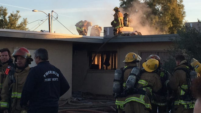 Firefighters responded to a first-alarm fire at Sun Terrace Apartments in Phoenix Tuesday morning.