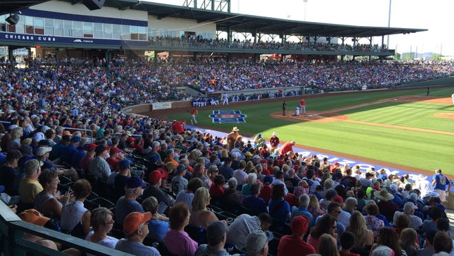 After decades of training at Hohokam Stadium, the Chicago Cubs got a new home in 2014: Sloan Park. The complex has drawn record-breaking crowds in its first two seasons.
