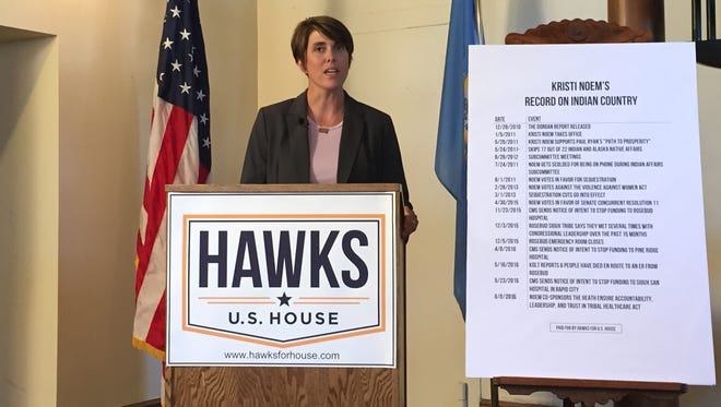 Democratic U.S. House candidate Paula Hawks at a press conference in Sioux Falls.