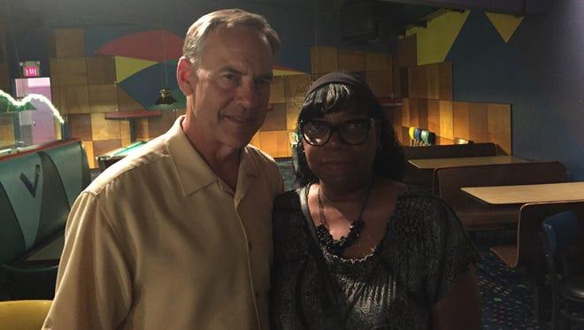 Michigan State football coach Mark Dantonio, left, and Bridgett Harvel on Thursday, July 28, 2016.