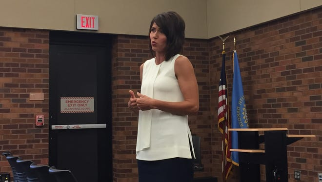 Rep. Kristi Noem spoke to constituents Monday in Sioux Falls.