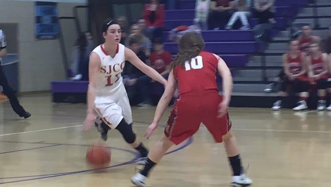 SJCC's Callie Kelbley handles the basketball Tuesday.
