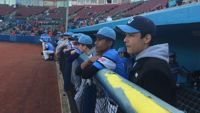 Brandon Johnson, a leukemia survivor, watches his John Jay High School baseball team play Roy C. Ketcham at Dutchess Stadium Wednesday