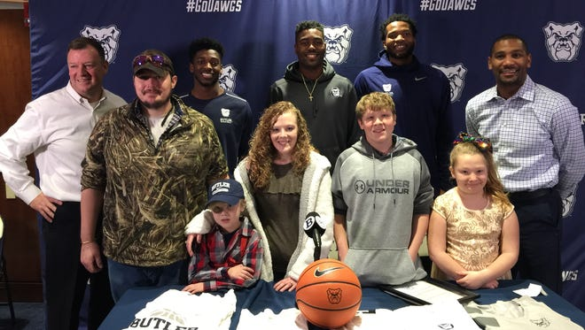 The Butler men's basketball program partnered with the Friends of Jaclyn Foundation to host 7-year-old Seth Dennison, who signed a national letter of intent and visited the team's locker room.