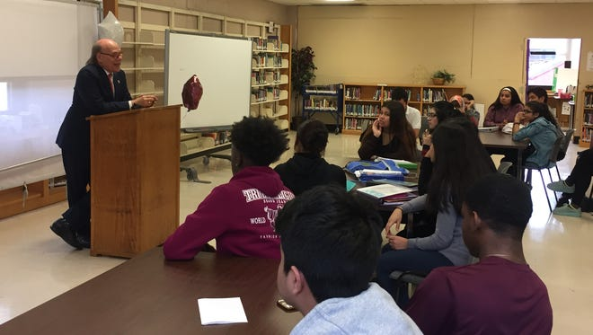 Rep. Steve Cohen, D-Memphis, speaks to about 100 students at Kingsbury High in Memphis on Feb. 20, 2018.