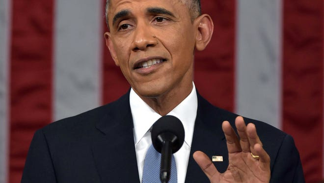 President Barack Obama delivers his State of the Union address to a joint session of Congress on Capitol Hill in Washington.