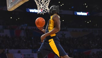 Pacers guard Victor Oladipo during the dunk contest.