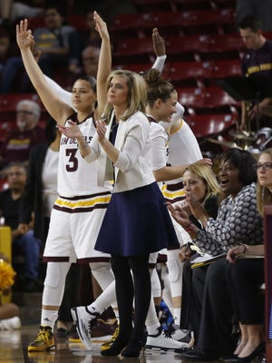 ASU's head coach Charli Turner Thorne and the bench react after Katie Hempen hits a three against New Mexico State during the first round of the NCAA Tournament at Wells Fargo Arena in Tempe, Ariz. on Friday, March 18, 2016.