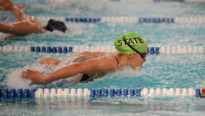 Scenes from the CHSAA State Swimming and Diving Championship prelims at Edora Pool Ice Center on Friday, February 12, 2016.