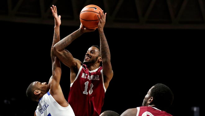 North Carolina Central  forward Pablo Rivas shoots the ball against Hampton during the first half of the MEAC tournament final.